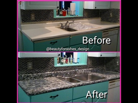 How to Paint a Faux Granite Countertop [Under $100]