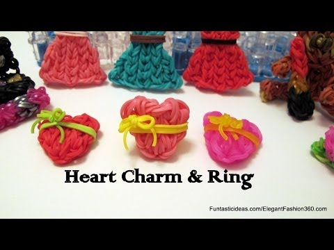 Rainbow Loom Heart Charm and Ring(Mother's Day) - How to - Emoji/Emoticon Series