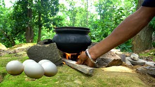Cooking STEAMED EGG KALIA in Clay Pot Prepared in Forest by the Village Boys