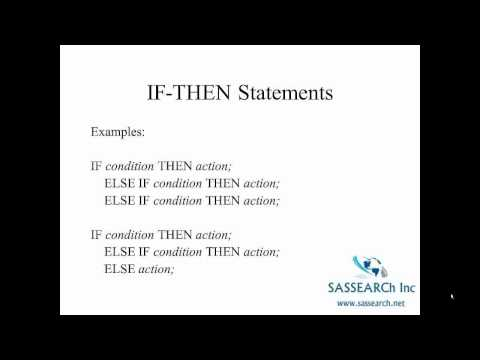 How to use SAS - Lesson 13 - IF Then and Missing Value Codes