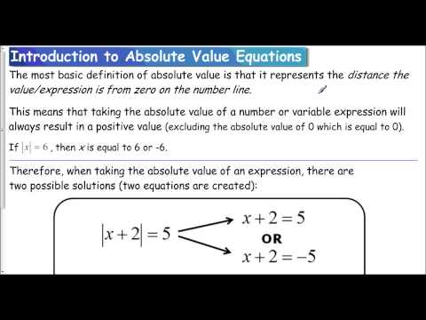 Lesson 1.3 - Intro to Absolute Value Equations