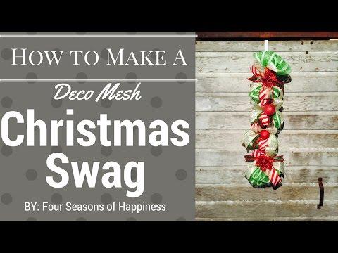DIY SWAG, DIY deco mesh swag, how to make Christmas swag, How to make a Christmas deco mesh swag.