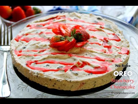 No Bake Oreo Strawberry Cheesecake - 5 Ingredients