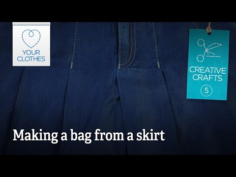 Creative crafts: making a bag from a skirt