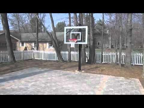 Brick Paver Backyard Basketball Court