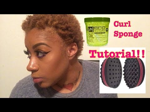 How to use a curl sponge on short hair / natural hair update / big chop #3
