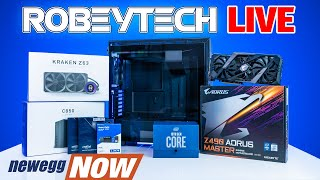 Newegg Now - Robeytech Live - World's First Live 10th Gen Intel Build! 10900k and 2080Ti