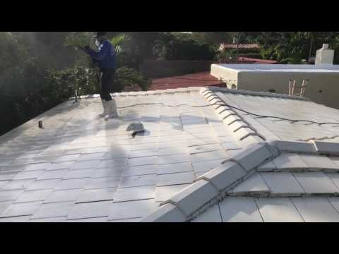 White tile roof cleaning