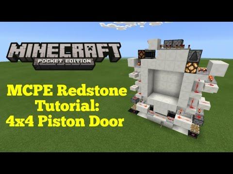 Minecraft Pocket Edition Redstone Tutorial: 4x4 Piston Door (MCPE 1.1.0)