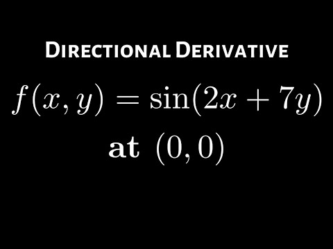 Directional Derivative of f(x, y) = sin(2x + 7y) at (0,0) in the Direction of a Unit Vector