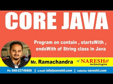 Core Java Tutorials | Program on contain  , startsWith , endsWith of String class in Java