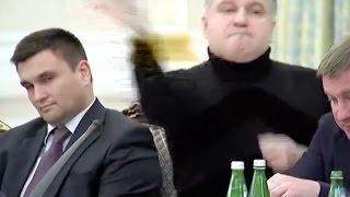 Ukraine minister Avakov throws glass at Saakashvili [full rant + English subs]