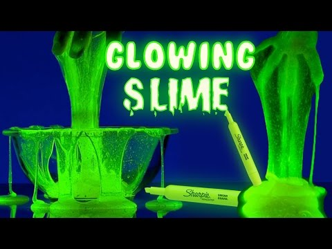 DIY GLOW IN THE DARK SLIME!!!!!!/ How to make Glowing Slime with highlighters!!!
