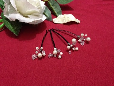How to make Hair pins |  Bridal hair accessories | DIY | Beads art