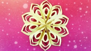Modular 3d origami snowflake tutorial easy instructions star. christmas diy 3d  paper snowflakes