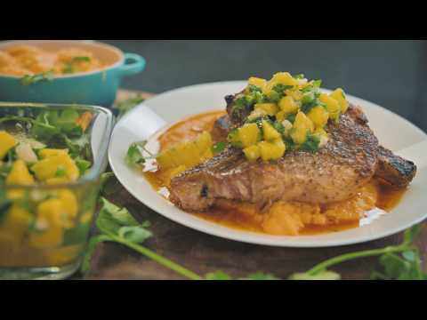 Pan Seared Pork Chops with Mango Salsa & Lime Butter