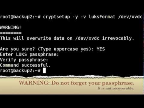 Linux Cryptosetup LUKS Tutorial:  Encrypting Directories / Partition / Hard Disks