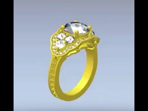 Artcam Jewelsmith  2015 Three  stone Halo style