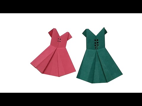 How to make a Paper dress || Paper Frock || Origami Frock || Origami Easy