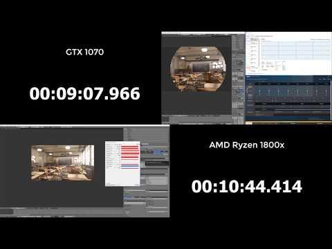 AMD Ryzen 7 1800X vs GTX 1070 in Blender Rendering 3D   Class room Scene Speed test