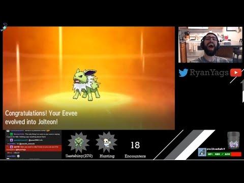Shiny Eevee via SOS evolves into Jolteon in Pokemon Sun and Moon