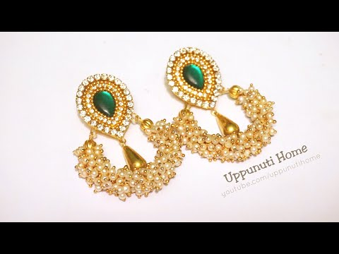 How To Make Designer Hoop Pearl Earrings At Home | DIY | Paper Earrings |Jewelry Making|uppunutihome