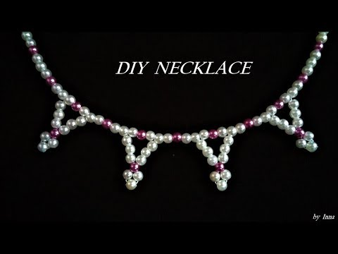 How to make beaded pearl necklace. Beginner necklace tutorial