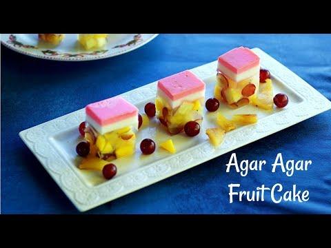 Rose Milk Fruit Cake | How to make agar agar jelly cake