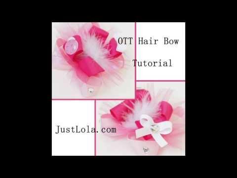 Pink & White OTT hair bow tutorial