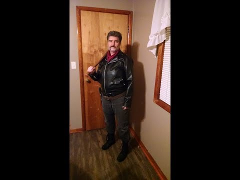 Negan Cosplay for Halloween with crepe wool beard application