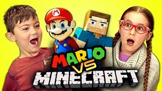 KIDS REACT TO MARIO VS MINECRAFT