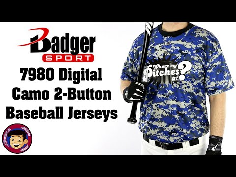 Badger 7980 2 Button Digital Camo Baseball Jerseys - Homegrown Sporting Goods