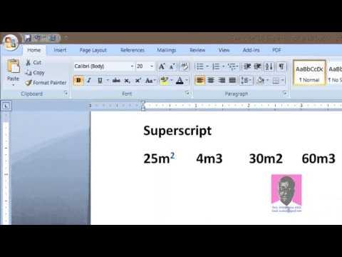 Lesson 10  Superscript and Subscript