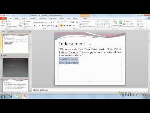 Changing text alignment  in powerpoint