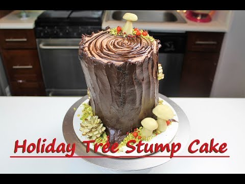 Holiday Tree Stump Cake | CHELSWEETS