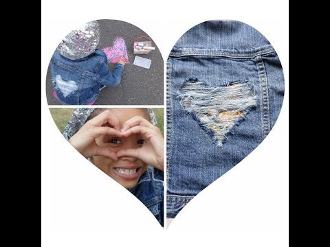 DIY Distressed Jean Jacket w/ Ripped Heart on do it yourself