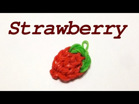 Rainbow loom Strawberry charms | How to make loom bands | Easy