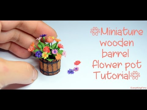 Miniature wooden barrel flower pot Tutorial