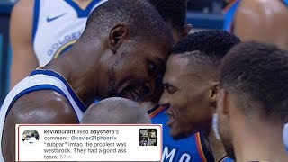 Kevin Durant LIKES IG Comment Blasting Russell Westbrook, Claims It Was a