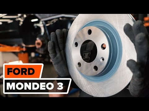 How to replace front brake discs and front brake pads on FORD MONDEO 3 TUTORIAL | AUTODOC
