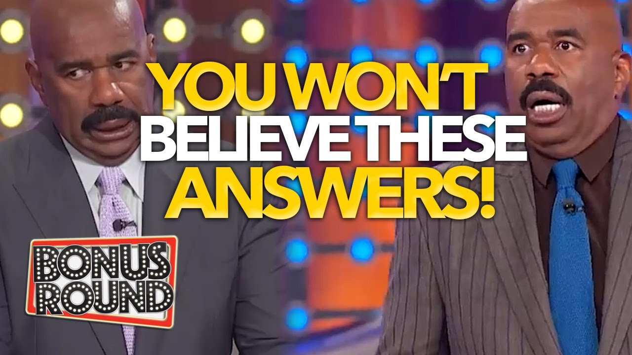 STEVE HARVEY SHOCKED, SCARED & SPEECHLESS FUNNY ANSWERS on Family Feud US!