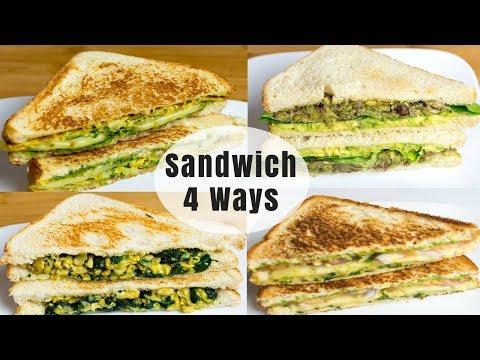 Healthy Breakfast Sandwich 4 Ways | Weight Loss Dinner Sandwich 4 Ways | Sandwich Indian Style