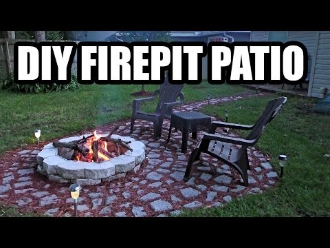 DIY FIREPIT PATIO with Stepping Stones made with a MOLD, Garden Outdoor Living