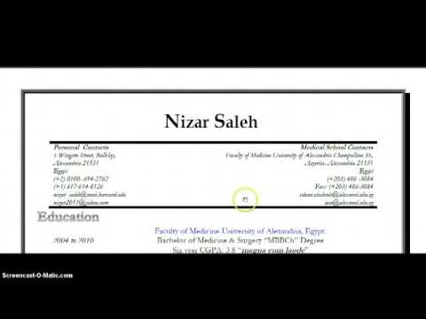 How to write your CV   Part 1  Nizar Saleh