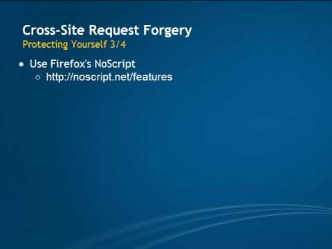 Cross-Site Request Forgery (CSRF) Protecting Yourself