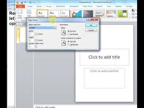 Powerpoint-Resize your slides to custom dimensions