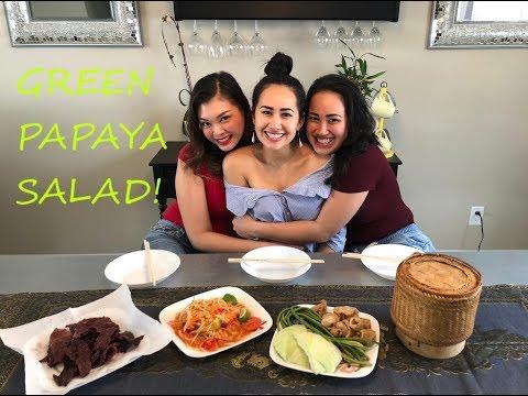 How to Make Tum Mak Hoong (Lao Green Papaya Salad) and Khao Neow (Sticky Rice)