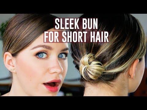 Easy Sleek Bun for Short Hair Tutorial | Anna Russett