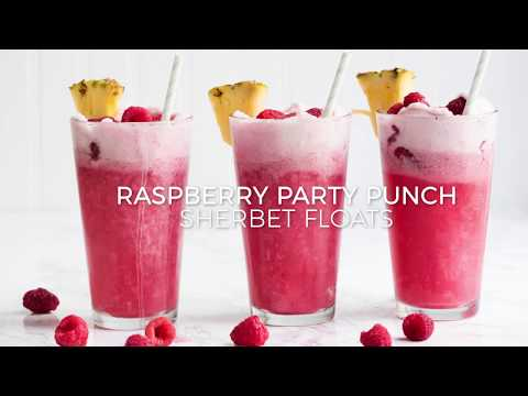 Raspberry Party Punch Sherbet Floats