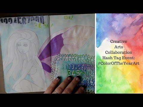 MIXED MEDIA ART JOURNALING - #coloroftheyearart - Serenity and Rose Quartz